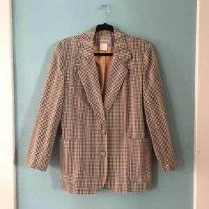 Vintage 1980's Tan Plaid Oversized Blazer